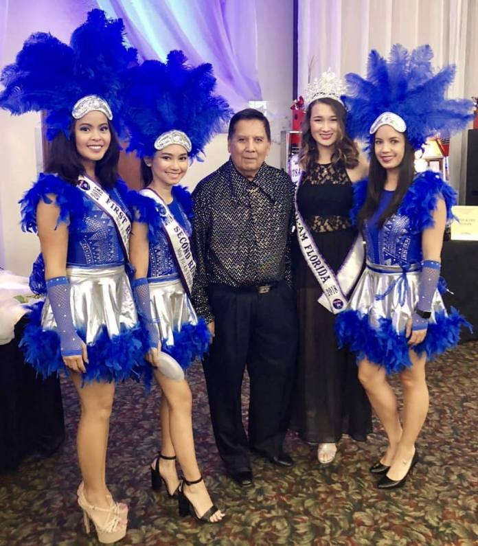 GK USA Chairman Dr. Jose Raffinan with the Miss Fil-Am USA 2018 Pageant winner and contestants.