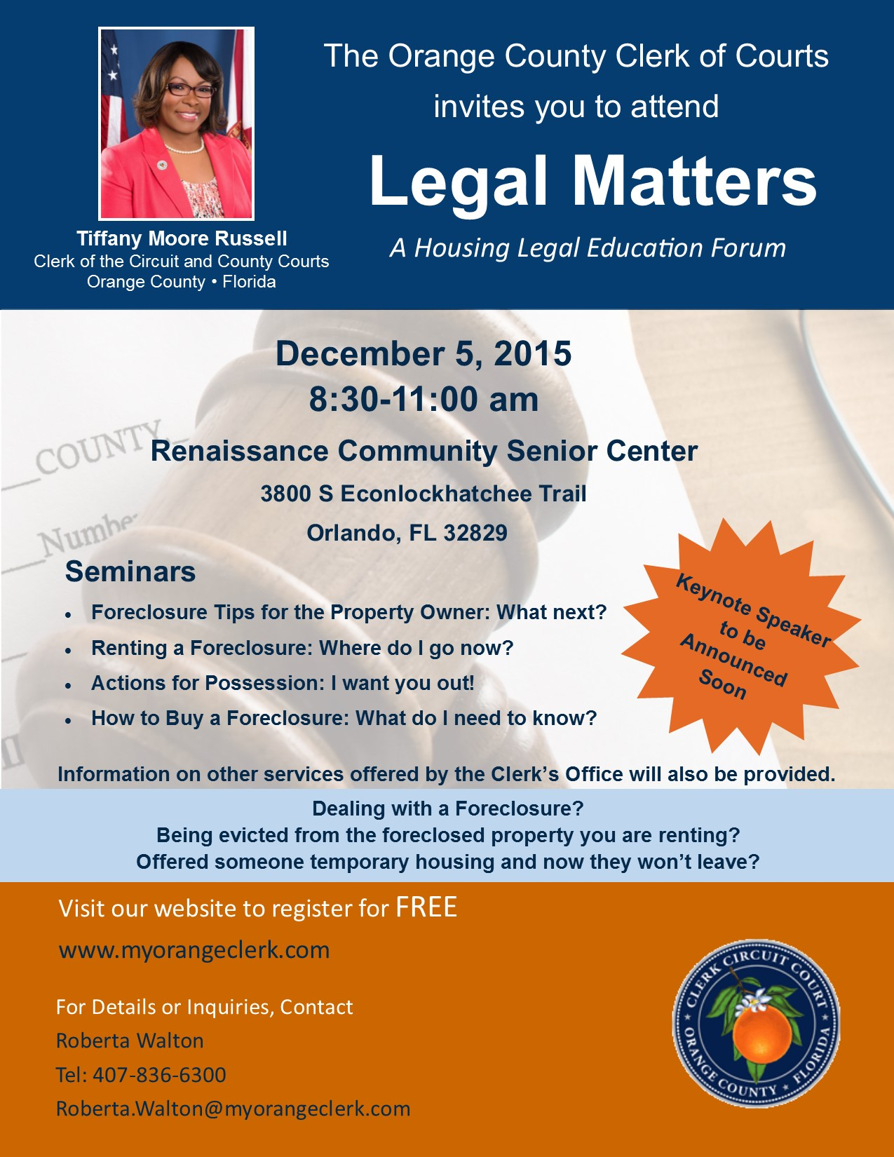 Orange County Clerk of Courts Housing Legal Education Forum