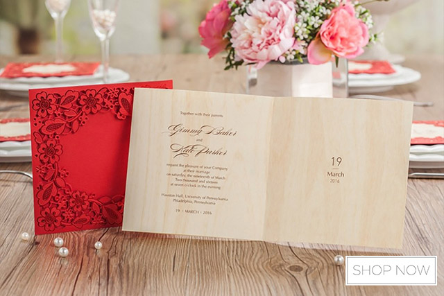 Free Shipping 10pcs Casamento Clic Bride And Groom Wedding Invitation Cards Red White Chinese Style