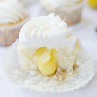 Lemon Curd Stuffed Cupcakes + Lemon Buttercream