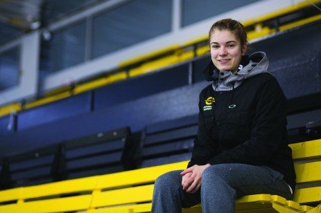 Katherine Purchase is the starting goaltender for the Concordia Stingers women's hockey team. Photo by Marie-Pierre Savard.