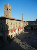 The piazza maggiore, as seen from upper story city hall.