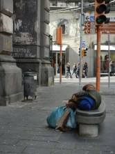Homeless people slept everywhere during the day.