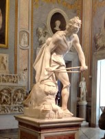 "Bernini. In my opinion this ""David"" knock's Michelangelo's flat. Of course, I haven't seen that one yet."