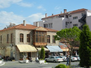The Greek cultural heritage of the area was obvious. Stone and brick buildings like this one abounded.