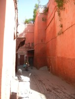 Winding alley ways beginning at my hostel and becoming more populated until they open up at the Jemma el Fna