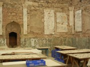 Here you can see the marble, the work tables and some of the plaster fresco bits above.