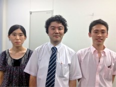 Dev and his instructors (left, right) and Professor Matsumura (center)