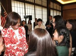 ASIJ kids meeting Michelle