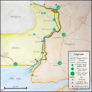 Carte de la région de l'Evros (c) Alberto Campi et Cristina Del Biaggio