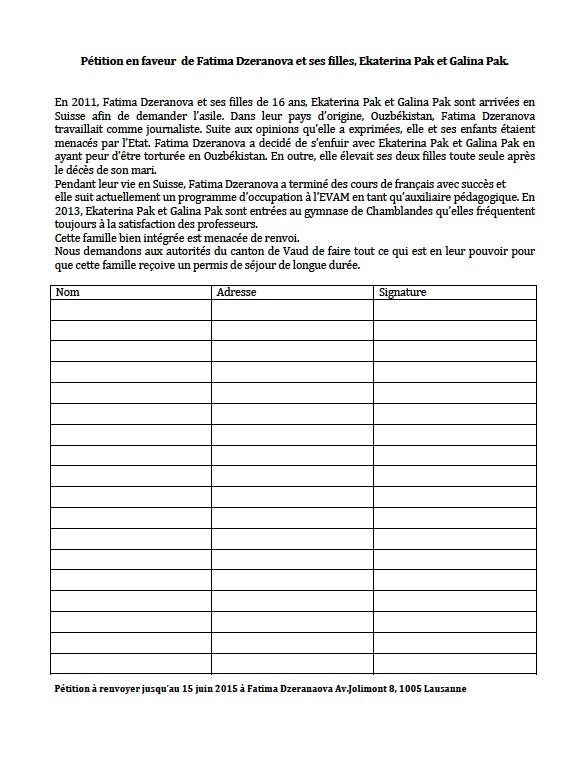 Petition en faveur de Fatima Dzeranova et ses filles