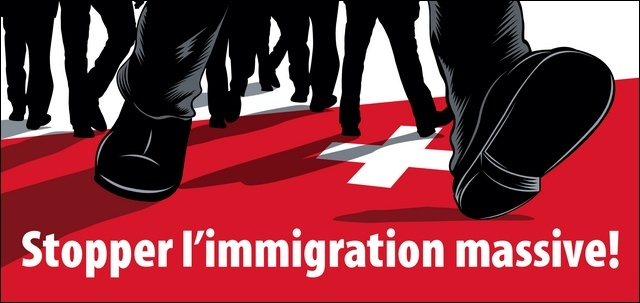 Affiche UDC pour la récolte de signatures en faveur de l'initiative «Stopper l'immigration massive!»