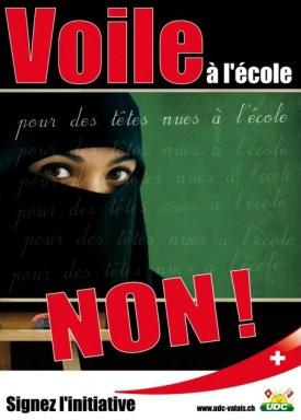 Campagne lancée par l'UDC-Valais contre le voile islamique.