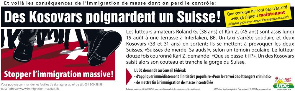 Bandeau de l'UDC publié dans les journaux.