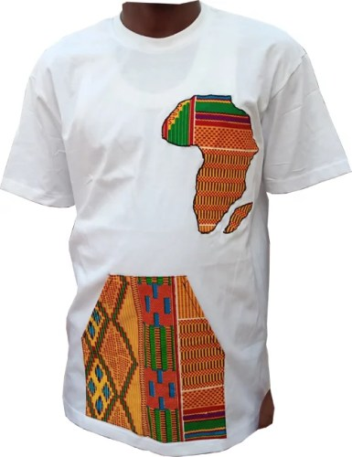 White African Design T-Shirt - African Map and pocket
