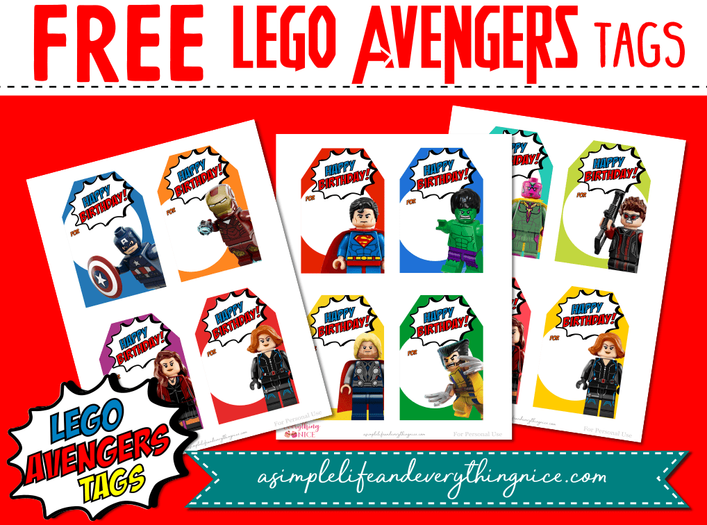 Free Avengers Lego Favor Tags - A Simple Life and ...
