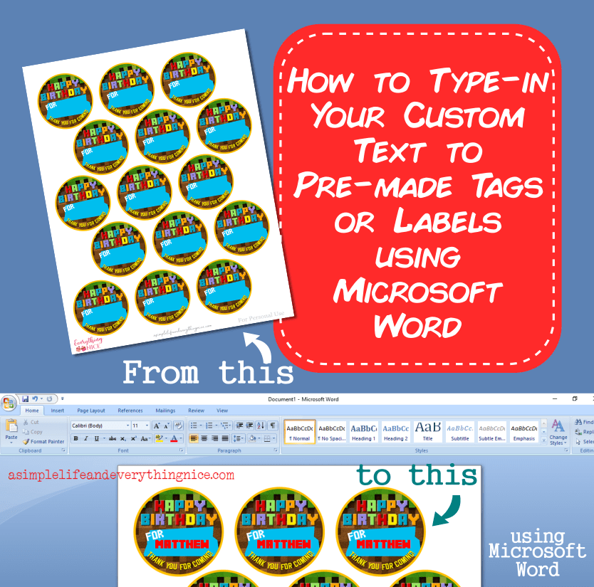 Type in custom text on tags labels with Microsoft Word thumbnail