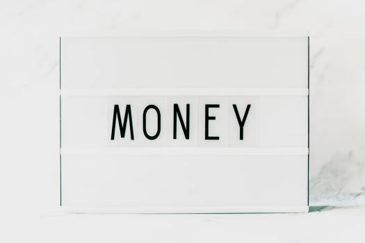 the word money on a white background