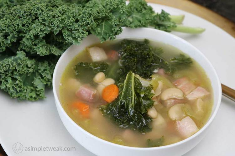 Smoked Ham, Kale and Bean Soup
