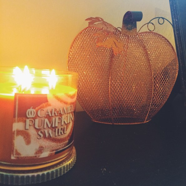 Caramel Pumpkin Swirl candle from Bath & Body Works, sparkly pumpkin decoration from Michael's