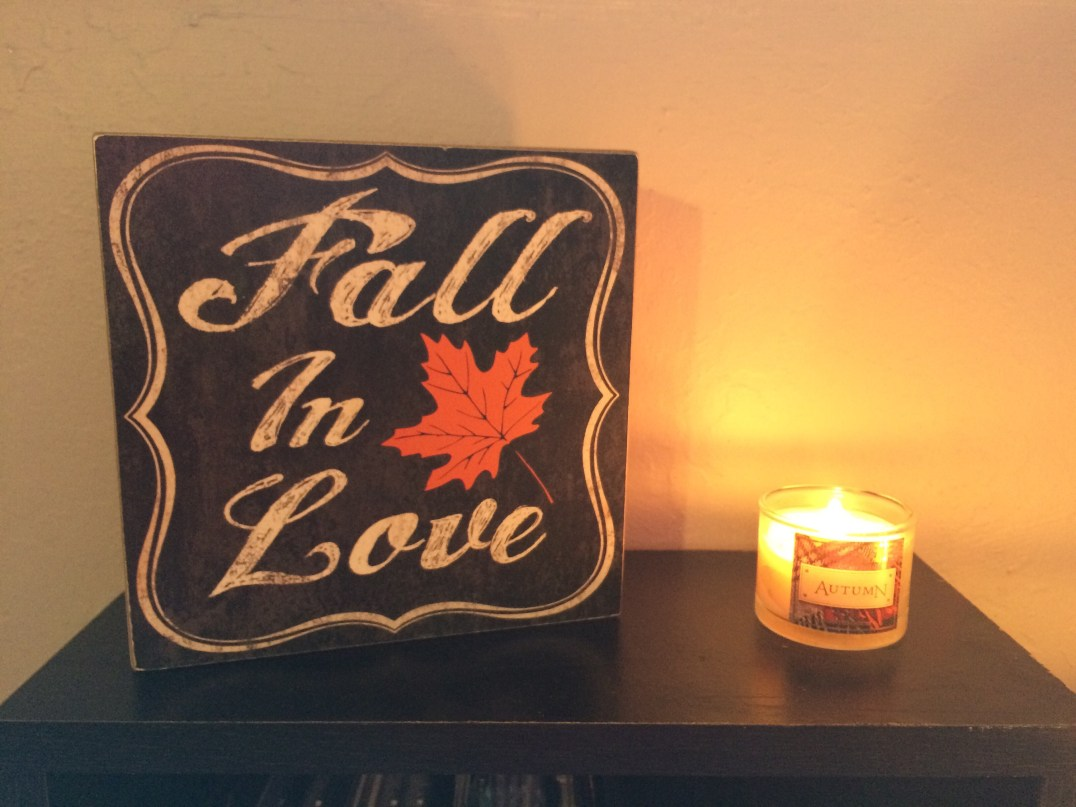 Fall In Love Sign from Michaels, Autumn candle from Bath & Body Works