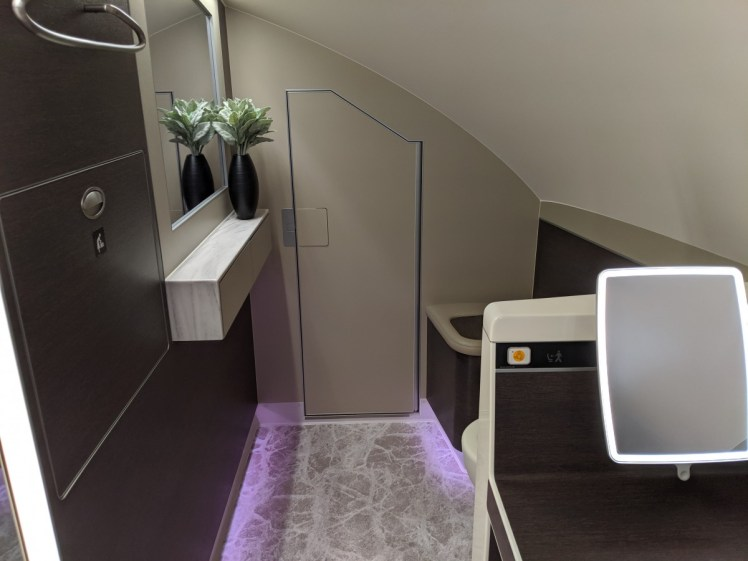 singapore a380 first class bathroom