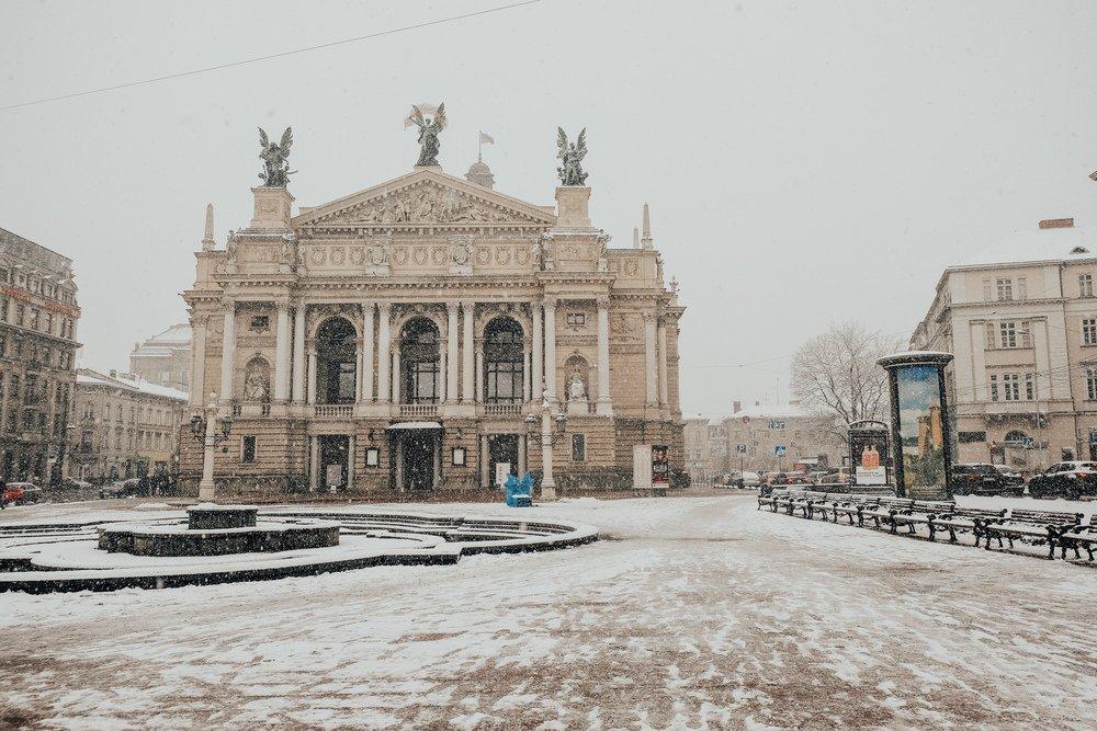 Lviv Opera House on a snowy day