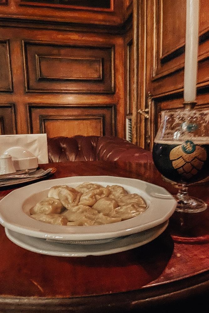 Beer and Pierogi at Amadeus