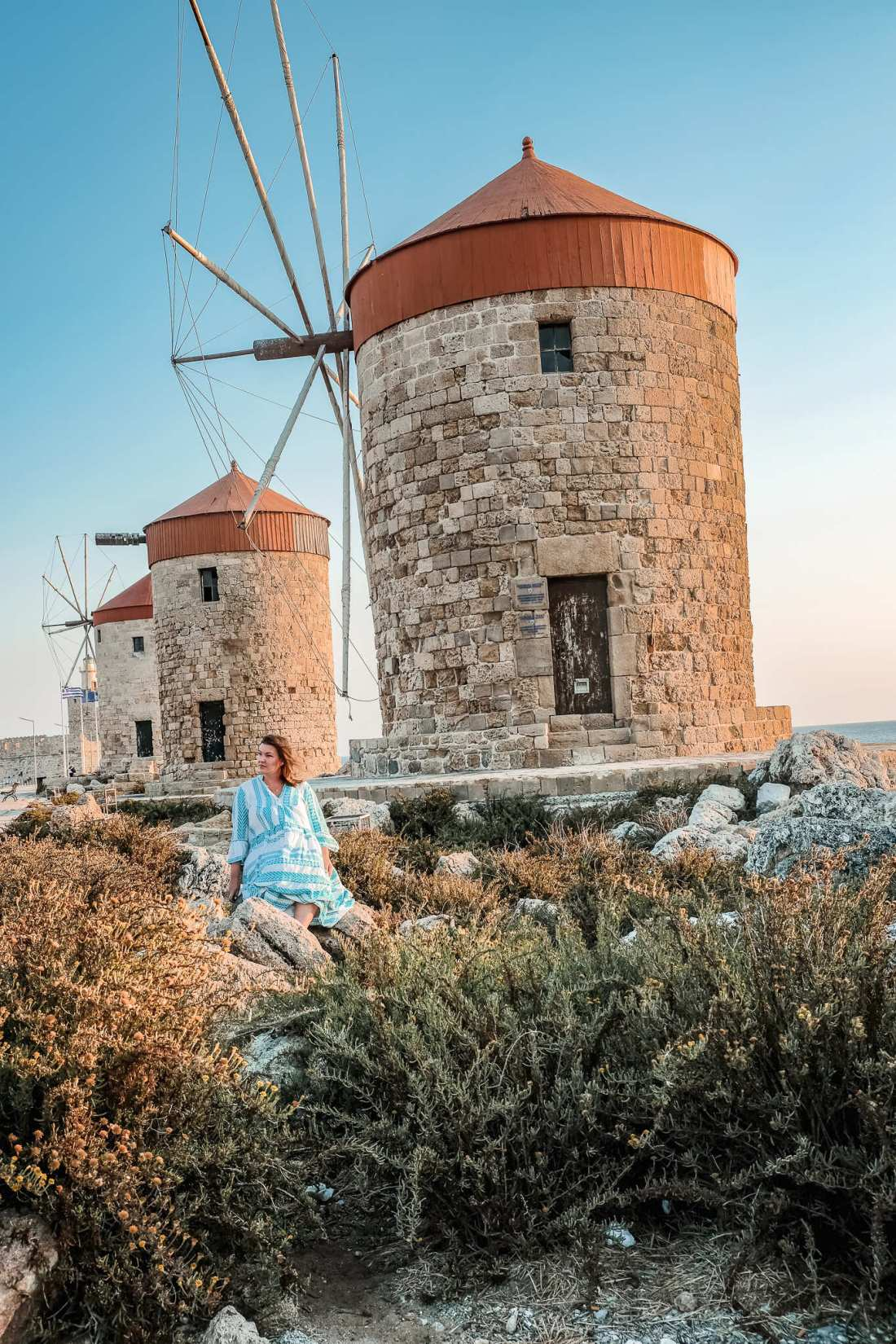 Windmills in Rhodes, Greece. Rhodes Itinerary For Solo Females