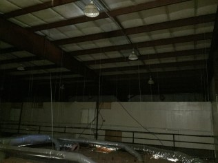 View above drop ceiling in Gymnasium.