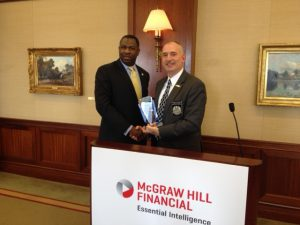 LT COL Jerome Hatfield receives speaker award from Chairman Anderson at February Chapter meeting