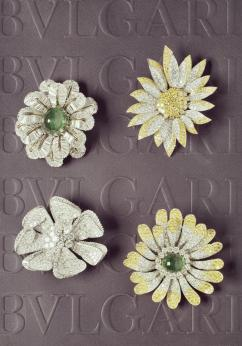 MUS0606_BVLGARI HERITAGE COLLECTION_Flower brooch in platinum with emerald, colourless and fancy yellow diamonds, ca 1960s