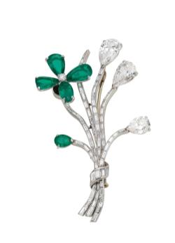 MUS0731_BVLGARI HERITAGE COLLECTION_Tremblant brooch in platinum with emeralds and diamonds, ca. 1958