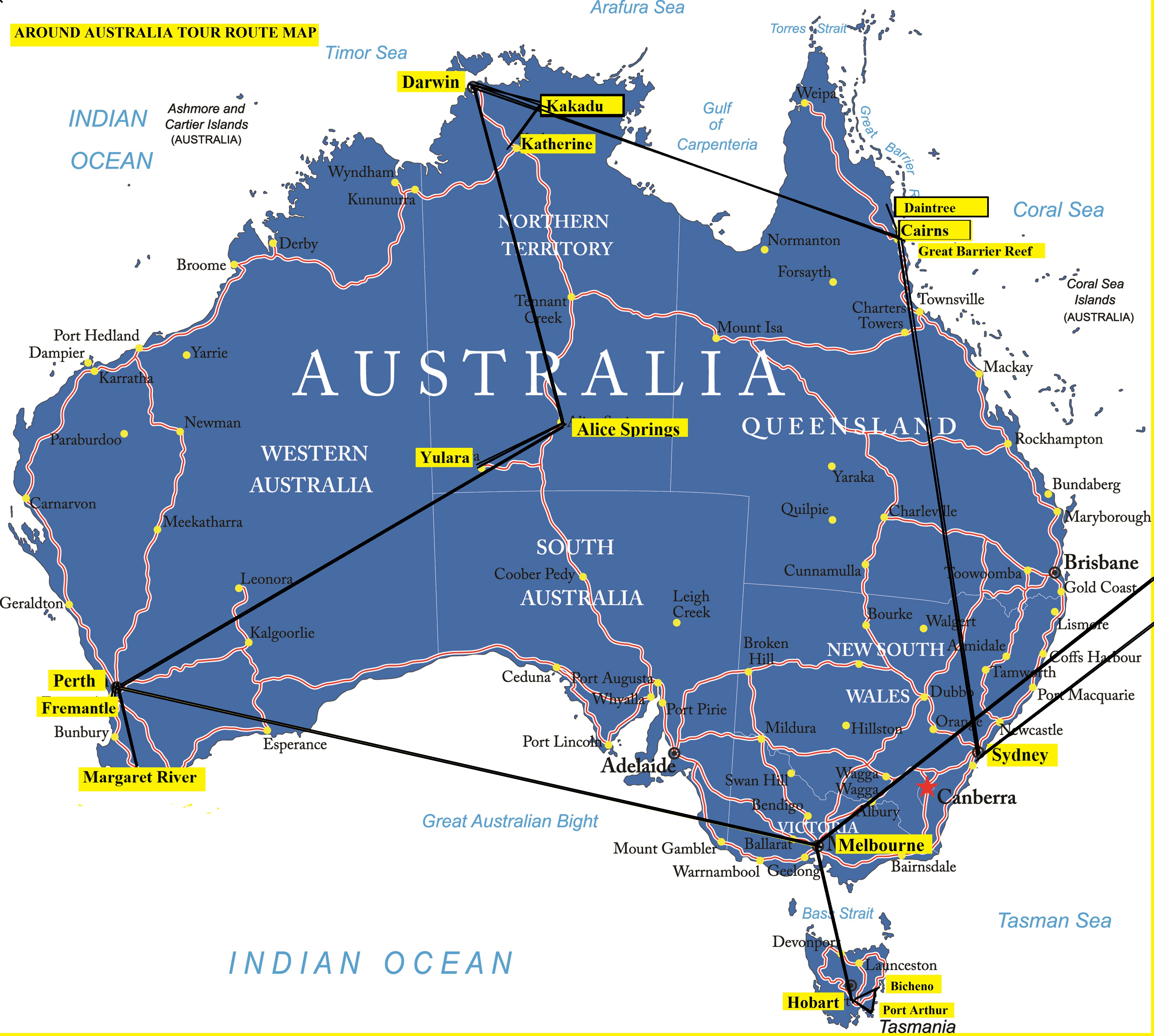 Map Around Australia.Asi Tours Around Australia Tour Route Map