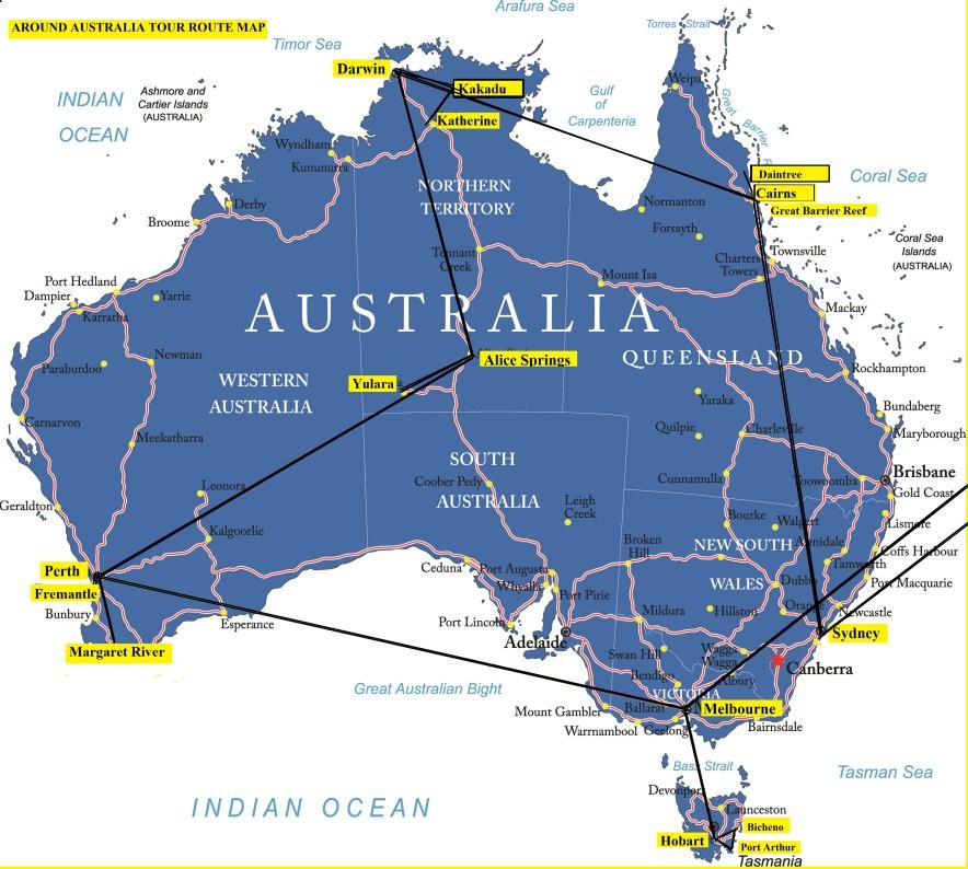 Australia Map Hobart.Asi Tours Around Australia Tour Route Map