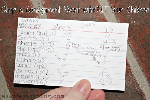 Shop a Consignment Event withOUT Your Children- shoping list