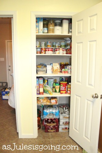 upgrading the pantry with wooden shelving as well as organizing the pantry