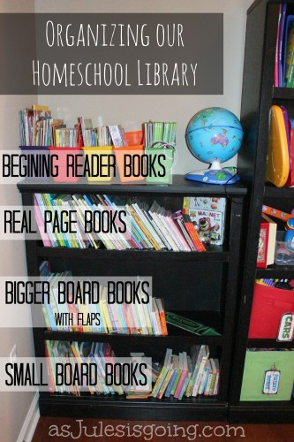 Organizing our homeschool library