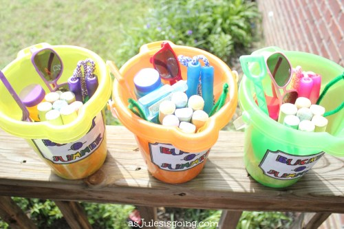 Bucket-O-Summer contents bucket, shovel, bubbles, sunglasses, jumprope, germX, chalk