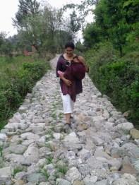 Manshi enjoys a walk with Abir.