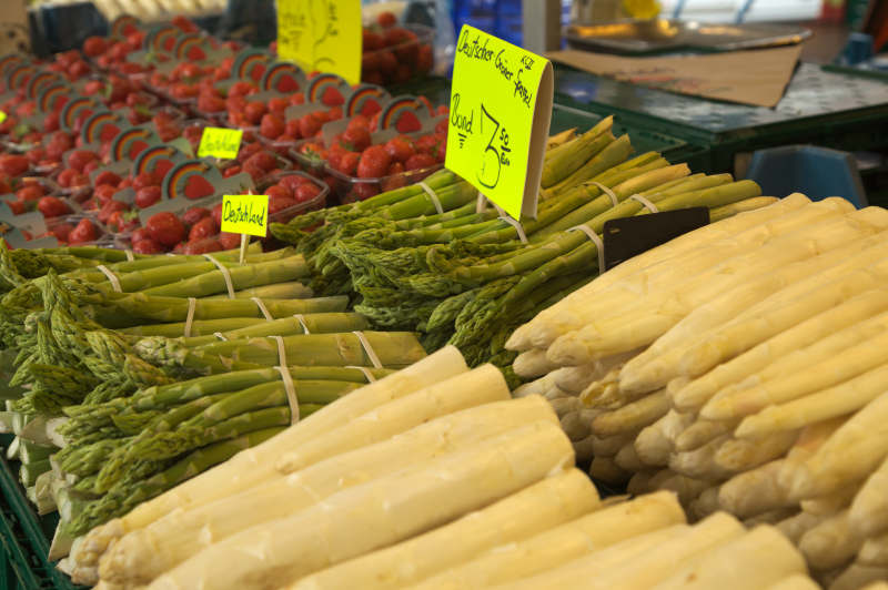 It is asparagus and strawberry season