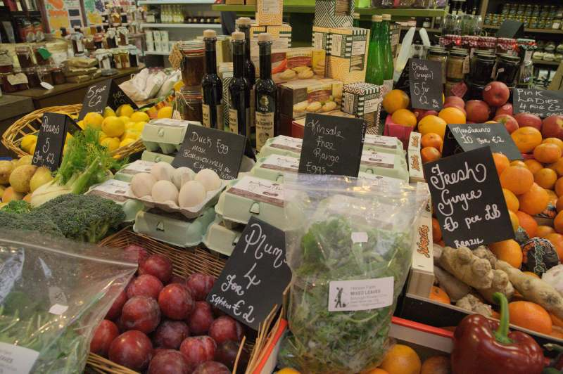 Duck eggs amongst fruit & vegetables - English market