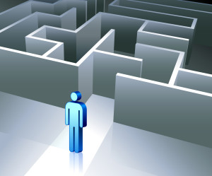 Business gender figure on maze background