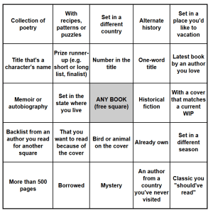 2018 summer book bingo card 2