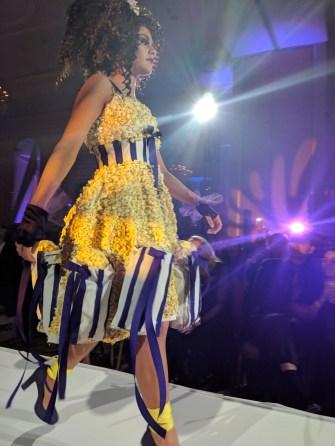 A stunning popcorn-inspired dress designed by Robin Clayborne.