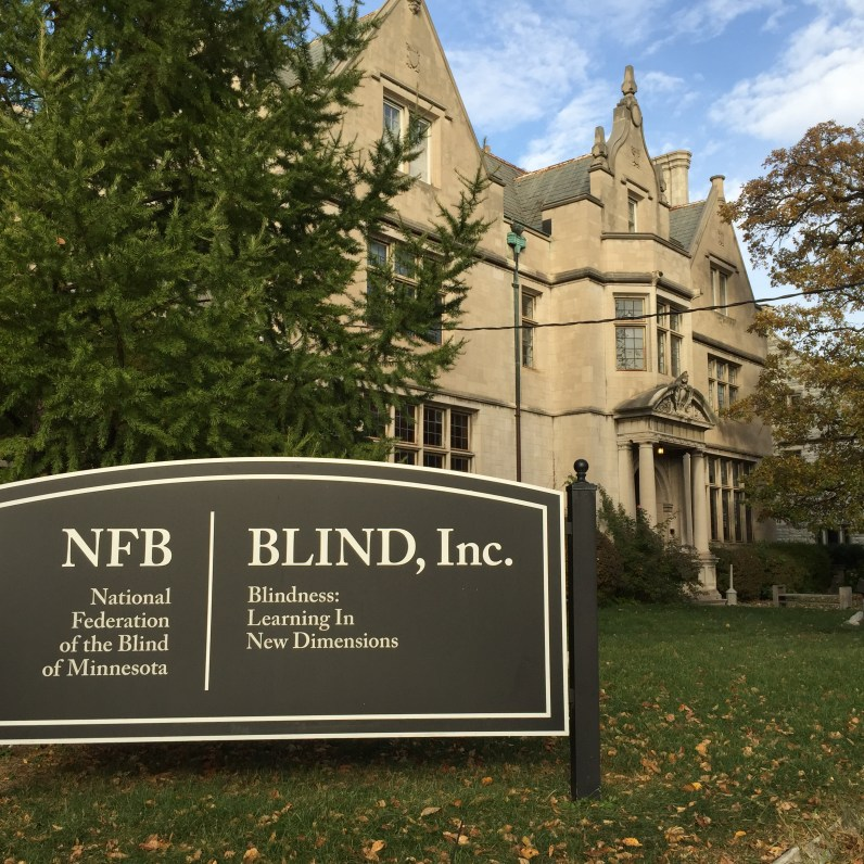 Image of sign in front of BLIND, Inc.