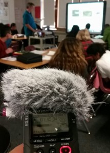 I recorded as Jason Bresette of the American Indian Magnet School in St. Paul, Minn. taught a lesson to his students. (Next Gen Radio/Angela Nguyen)