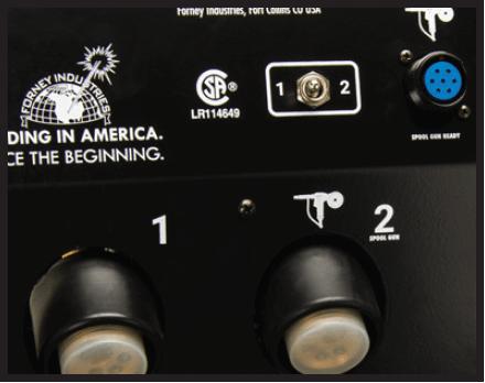 Dials: 1- Standard MIG, 2- Spool Gun