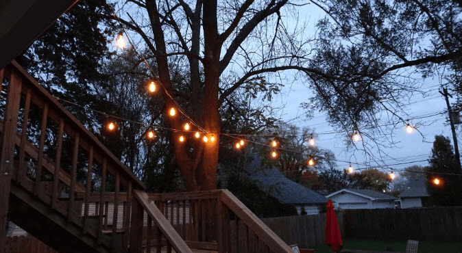 Lights Strung Across Balcony