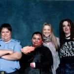 Zoie Palmer with her cosplayers at ECCC 2014